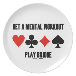 Get A Mental Workout Play Bridge (Four Card Suits) Melamine Plate