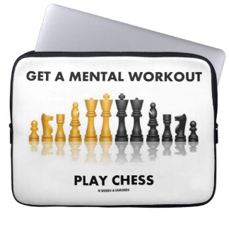 Get A Mental Workout Play Chess (Reflective Chess) Laptop Sleeve