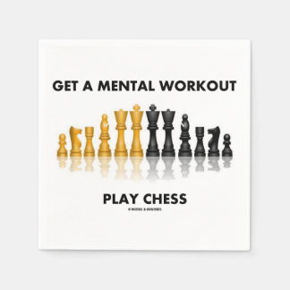 Get A Mental Workout Play Chess (Reflective Chess) Standard Cocktail Napkin