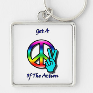 "Get a Piece ""Peace"" of the Action Silver-Colored Square Keychain"