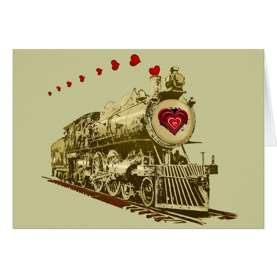 Get aboard the love train Valentines Card
