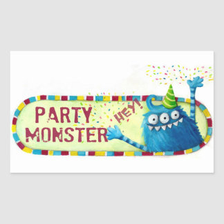 Get along with Party Monster Rectangular Stickers