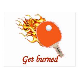 Get Burned Flaming Ping Pong Postcard
