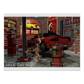 Get Busy Garage Pinup Poster