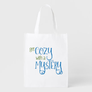 Get Cozy with a Mystery (blue and green) Grocery Bag