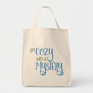 Get Cozy with a Mystery (blue and green) Tote Bag