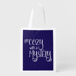 Get Cozy with a Mystery (white) Grocery Bag