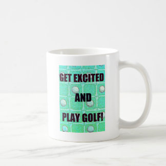 Get Excited and Play Golf Vintage Image Coffee Mug