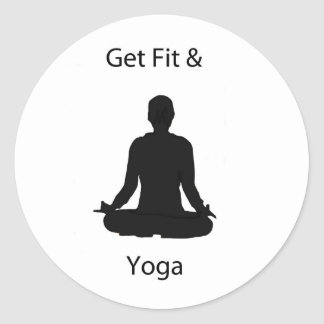 get fit and yoga classic round sticker