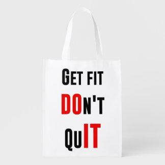 Get fit don't quit DO IT quote motivation wisdom Reusable Grocery Bag