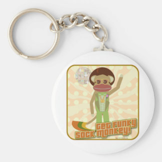 Get Funky Sock Monkey Basic Round Button Keychain