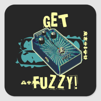 Get Fuzzy! Fuzz Guitar Pedal Blue Aqua Psychedelic Square Sticker