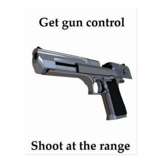 Get gun control at the range postcard