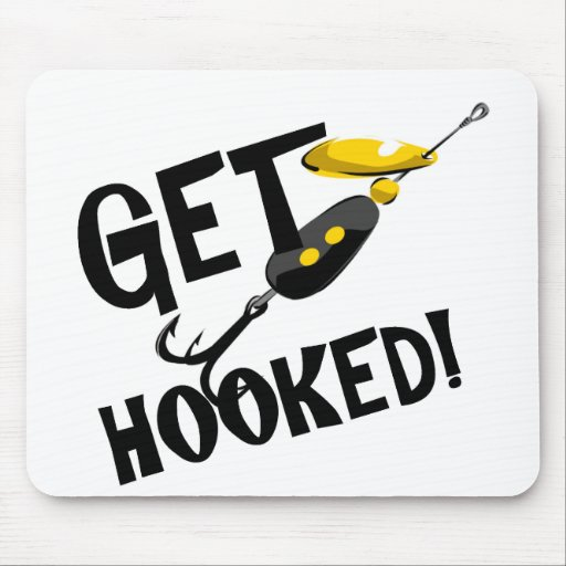 Get Hooked Fishing T-shirts and Gifts. Mouse Pad
