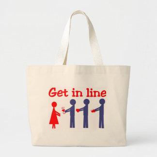 Get in line jumbo tote bag