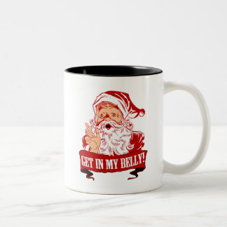 Get in My Belly Funny Christmas Two-Tone Coffee Mug