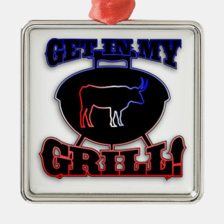 Get In My Grill American Barbecue BBQ Meat Metal Ornament
