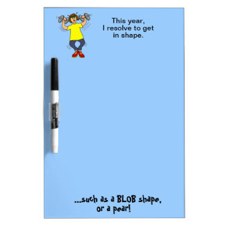 Get in Shape Funny New Years Resolution Cartoon Dry-Erase Board
