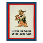 Get in the Game with Uncle Sam ~ Vintage World War Print
