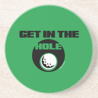 GET IN THE HOLE- SPORTY SLANG- GOLF ORNAMENT DRINK COASTER