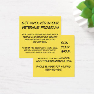 Get Involved in Our Veterans' Program! Church Info Square Business Card