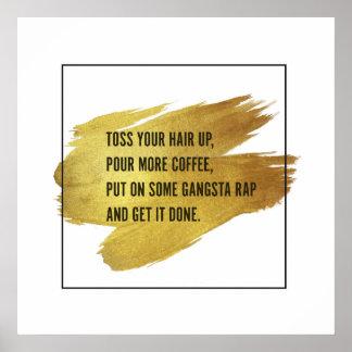 Get It Done Motivational Gold Foil Wall Art