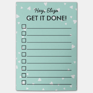 Get It Done Tiny Hearts To Do List | Custom Name Post-it Notes