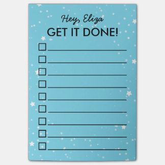Get It Done Tiny Stars To Do List | Custom Name Post-it Notes