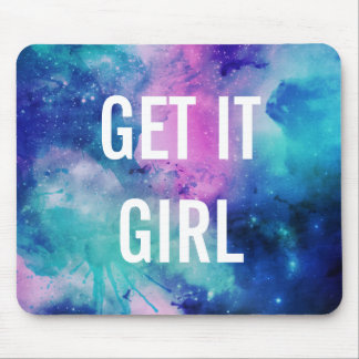 GET IT GIRL watercolor star galaxy mouse pad