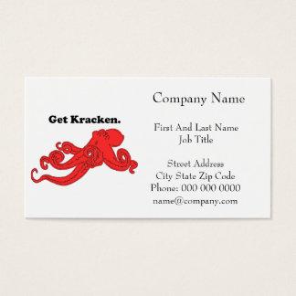 Get Kraken Red Octopus Squid Cartoon Business Card