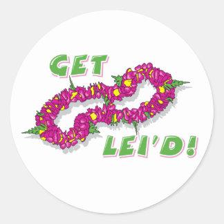Get Lei'd! (Purple) Round Stickers