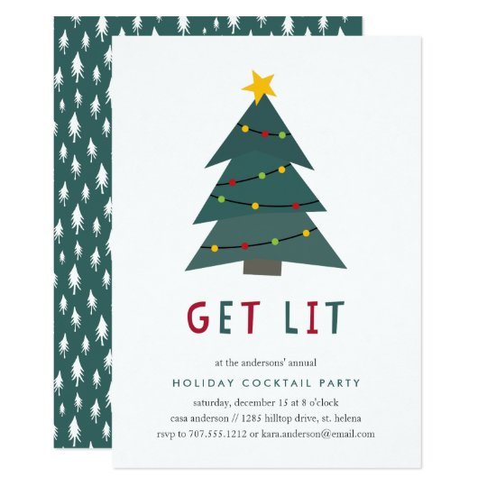 get lit holiday cocktail party invitation - Cocktail Party Invitation