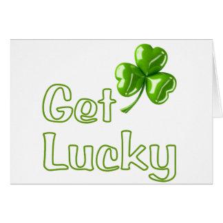 Get Lucky Shamrock Greeting Card