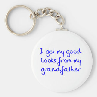 Get My Good Looks from Grandfather (Blue) Keychain