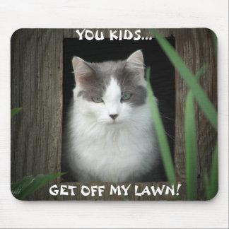 Get Off My Lawn cat meme Mouse Pad