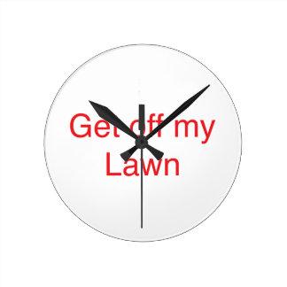Get off my Lawn Round Clock