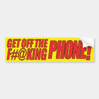 Get Off the F#@king Phone (yellow) Bumper Sticker Car Bumper Sticker