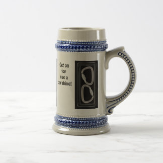 Get on top, use a carabino! 18 oz beer stein