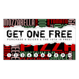 get one free PIZZA SLICE Business Card