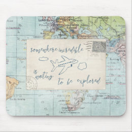 Get out and Explore Quote and Map Mouse Pad