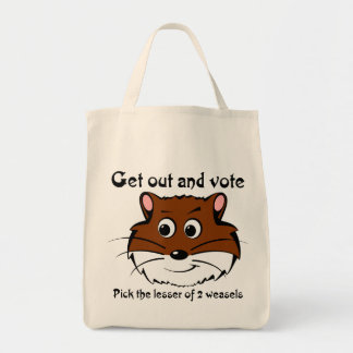 Get out and vote (a weasel wins anyway) canvas bags