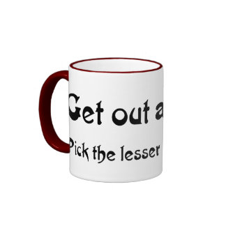 Get out and vote (a weasel wins anyway) coffee mugs