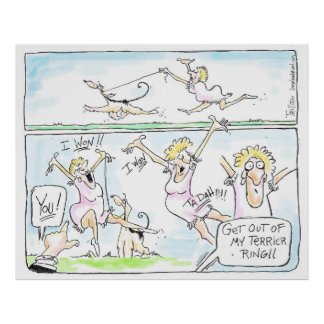 Get Out of My Terrier Ring -Kabuki Cartoon Poster