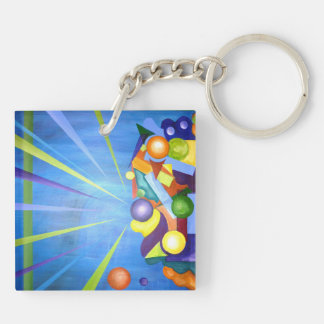 Get out of the box Double-Sided square acrylic keychain