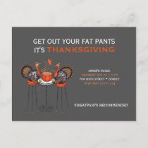 Get Out Your Fat Pants Thanksgiving Dinner Holiday Postcard