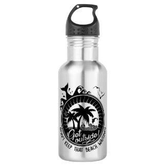 Get Outside Comical Beachy Nature Lover Pun Water Bottle