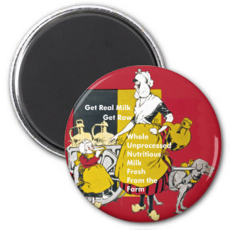 Get Real Milk- Get Raw Vintage Poster 2 Inch Round Magnet