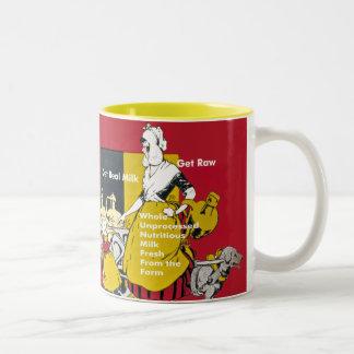 Get Real Milk- Get Raw Vintage Poster Two-Tone Coffee Mug