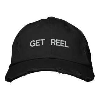 Get Reel Fishing Embroidered Hat Black