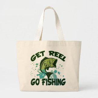 Get Reel Go Fishing Large Tote Bag